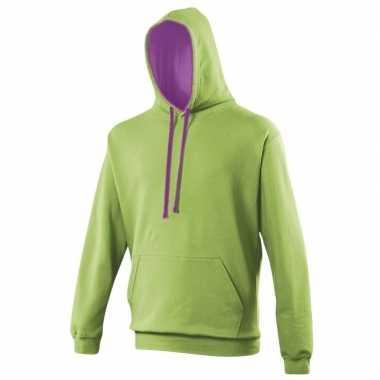 Lime groene kleding sweaters capuchon