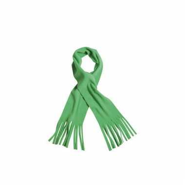 Lime groene winter fleece sjaal met franjes