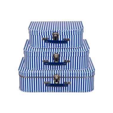 Logeerkoffer blauw met strepen voor jongens 25 cm