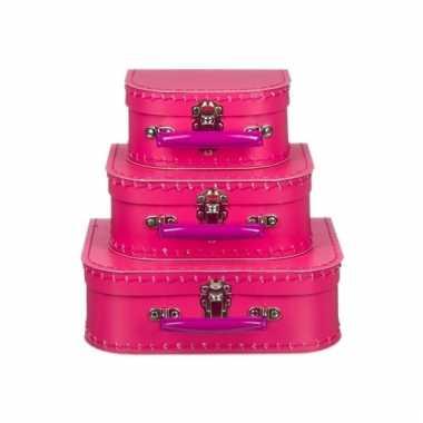 Logeerkoffer roze voor meisjes 16 cm