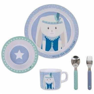 Lunch setje konijn blauw 5-delig voor kinderen