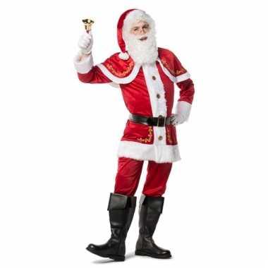 Luxe fluwelen kerstmannen outfit