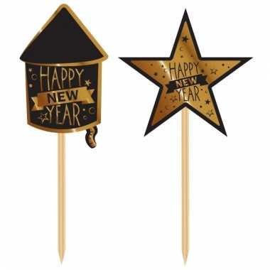 Luxe jaarwisseling cocktailprikkers zwart goud