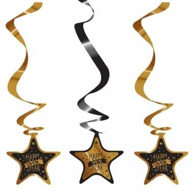 Luxe jaarwisseling slingers zwart goud