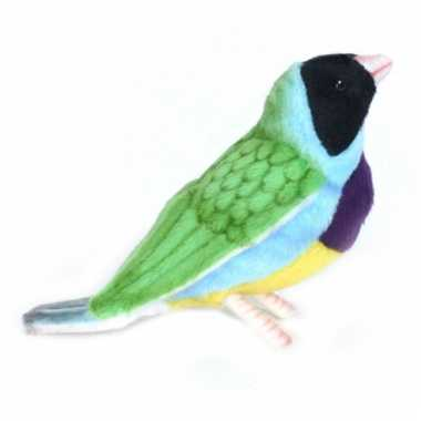 Luxe knuffel gekleurde gouldamadine vogel 11 cm