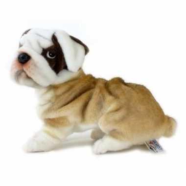 Luxe pluche bulldog beige 30 cm
