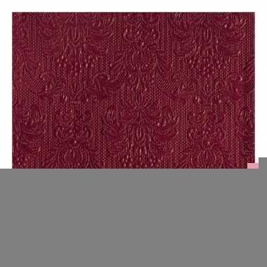Luxe servetten bordeaux rood barok 3-laags 15 stuks