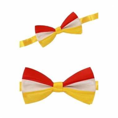 Luxe vlinderstrik rood/geel/wit