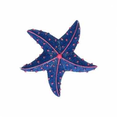 Magneten glitter zeester donkerblauw 7.5 cm
