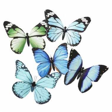 Magneten vlinder blauw/groen 13.5 cm
