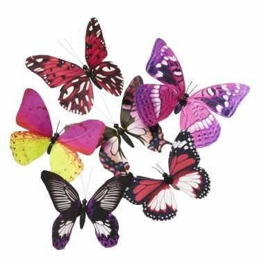 Magneten vlinder roze/paars 13.5 cm