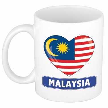 Maleisische vlag hart mok / beker 300 ml