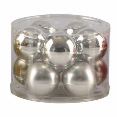 Mat en glans kerstballen zilver 10 stuks