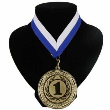 Medaille nr. 1 halslint blauw en wit