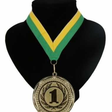 Medaille nr. 1 halslint groen en geel