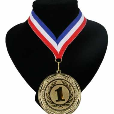 Medaille nr. 1 halslint rood wit blauw