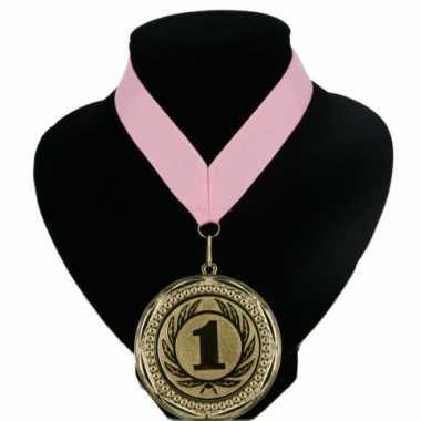 Medaille nr. 1 halslint roze