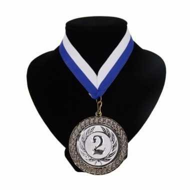 Medaille nr. 2 halslint blauw en wit