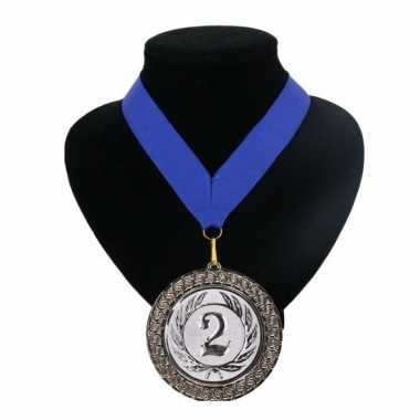 Medaille nr. 2 halslint blauw