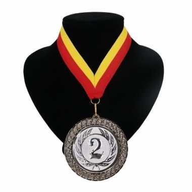 Medaille nr. 2 halslint rood en geel