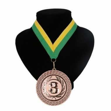 Medaille nr. 3 halslint groen en geel