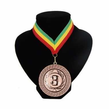 Medaille nr. 3 halslint groen geel rood