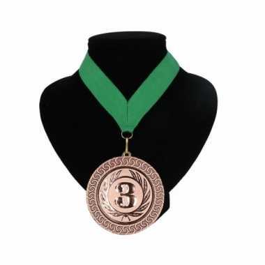 Medaille nr. 3 halslint groen