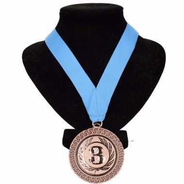 Medaille nr. 3 halslint lichtblauw