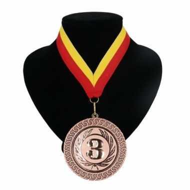 Medaille nr. 3 halslint rood en geel