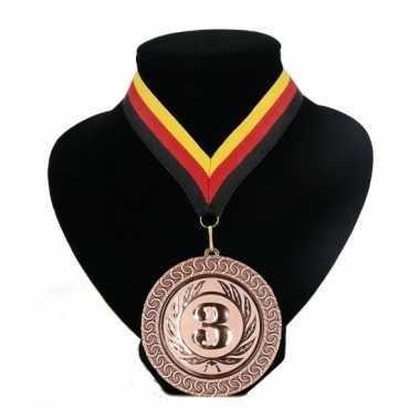Medaille nr. 3 halslint rood geel zwart