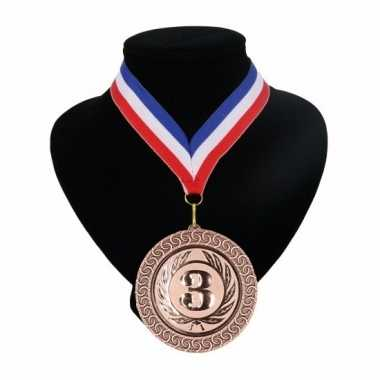 Medaille nr. 3 halslint rood wit blauw
