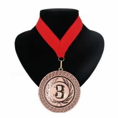 Medaille nr. 3 halslint rood