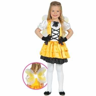Meisjes vlinder kostuum geel