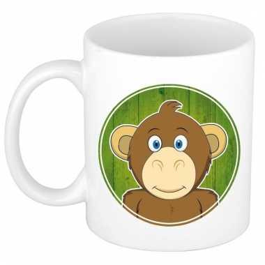 Melk mok / beker met apen print 300 ml