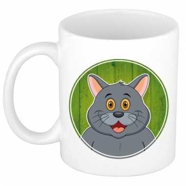 Melk mok / beker met grijze katten print 300 ml