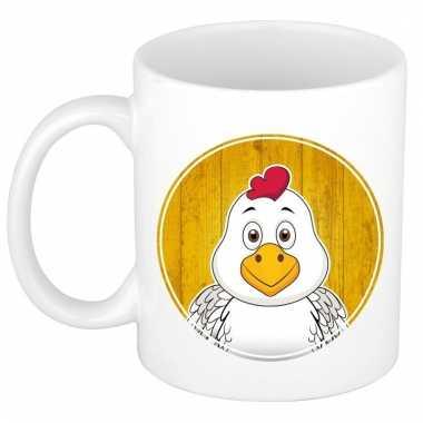 Melk mok / beker met kippen print 300 ml