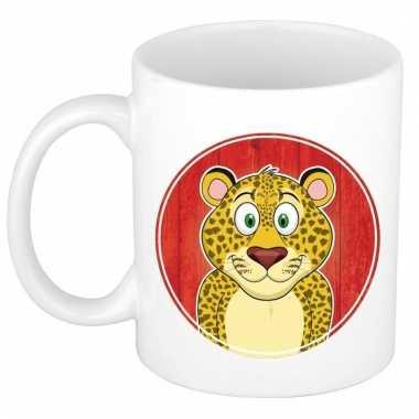 Melk mok / beker met luipaarden print 300 ml