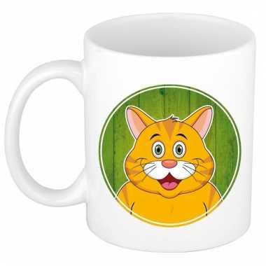 Melk mok / beker met rode katten print 300 ml