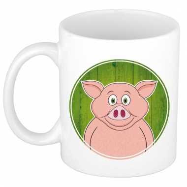 Melk mok / beker met varkens print 300 ml