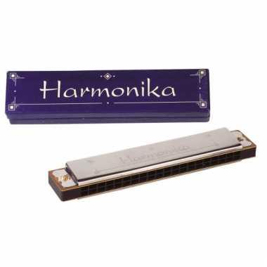 Metalen mondharmonica met kartonnen doosje