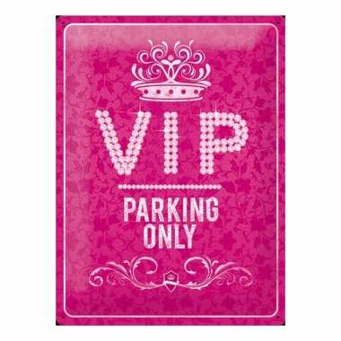 Metalen plaat muurdecoratie vip parking 30 x 40 cm