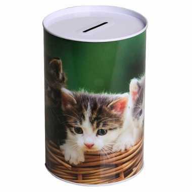 Metalen spaarpot kitten 15 cm type 3