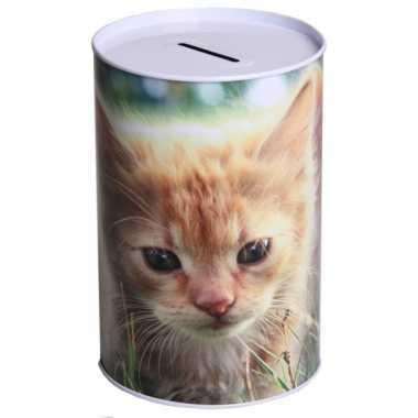 Metalen spaarpot kittens 15 cm type 1