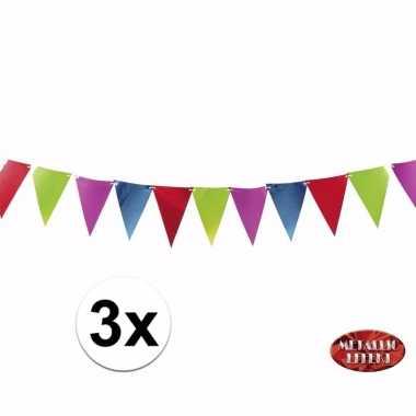 Metallic party vlaggetjes/vlaggenlijnen in kleuren 3.6 meter meter