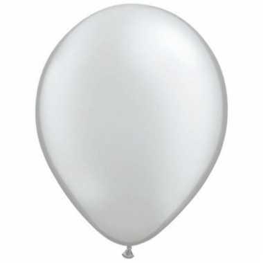 Metallic zilveren ballonnen 50 stuks