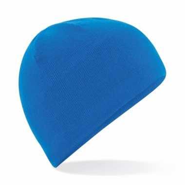 Microfleece sportmuts kobalt blauw voor heren