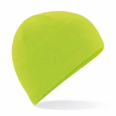 Microfleece sportmuts lime voor heren