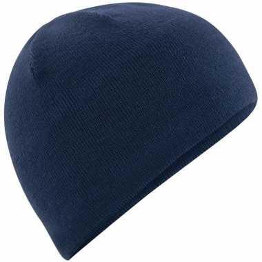 Microfleece sportmuts navy blauw voor heren
