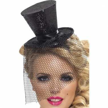 Mini hoge hoed zwart op diadeem