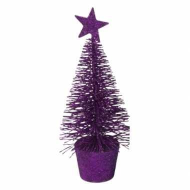 Mini kerstboom in de kleur paars 15 cm